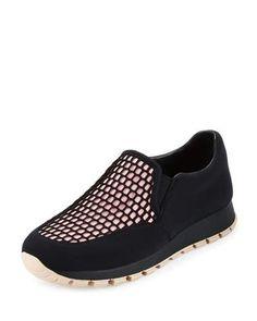 PRADA Mesh Fabric Slip-On Sneaker, Nero/Rosa. #prada #shoes #