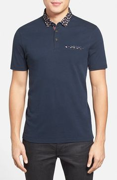 Ted Baker London 'Sydnar' Slim Fit Woven Collar Polo available at Button Down Collar, Boys T Shirts, Ted Baker, Polo Ralph Lauren, Nordstrom, Slim, London, Fitness, Mens Tops