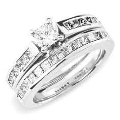 14K White Gold Princess Cut Wedding Ring Set