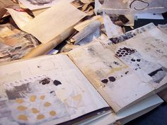 Journaling to help find a creative spark  (Leslie Avon Miller's work table)