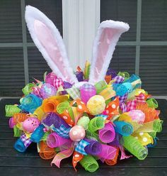 Easter Bunny Mesh, Ribbon, & Egg Centerpiece!