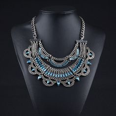6.50€ - Metal Statement Necklaces Crystal Tassel  Vintage Collar Women - Best Lady Jewelry Store