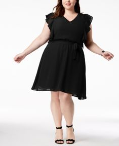 2dd08a2bf92 Love Squared Trendy Plus Size Flutter-Sleeve A-Line Dress - Black 1X