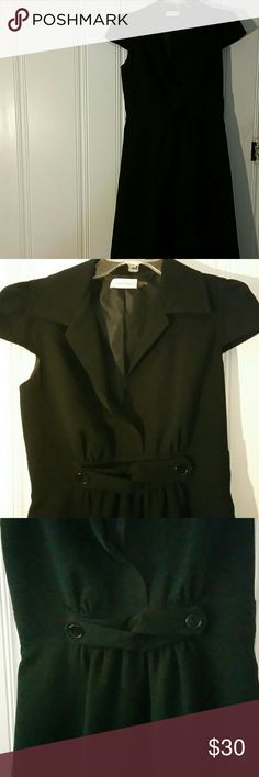 Calcin Klein Black dress Black capped sleeved dress from Calvin Klein.  Sized 4 and both the shell and lining are polyester. The length is midi, and measures  39.25 inches and has an invisible side zipper. Calvin Klein Dresses Midi