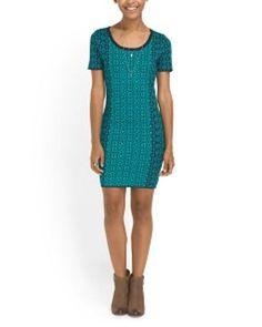 Romeo & Juliet Couture Geometric Print Short Sleeve Sweater Mini Dress NWT S M #RomeoJulietCouture #SweaterDress #Casual