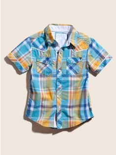 GUESS Kids Boys Pembroke Plaid.  Western Shirt. Love the colors