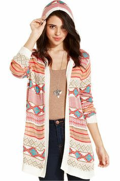 Takeout Open-Front Duster Hooded Cardigan - Juniors | Target ...