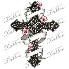 Marketplace Tattoo Gothic and Floral Celtic Cross #1751 | CreateMyTattoo.com