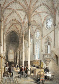 antique print of the #Gothic refectory of St. Martin des Champs - survives today from the 13th century - Bibliothèque Du Conservatoire Des Arts et Métiers.