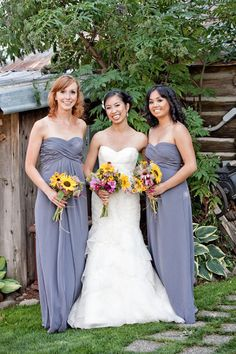 Bridesmaids, this is the Bill Levkoff dress we like, just in gray instead of blush :)