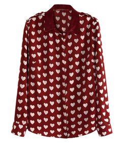 Vintage Hearts Print Chiffon Blouse with Epaulets