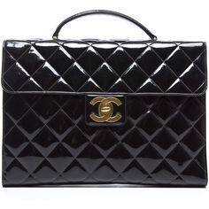 Pre-Owned Chanel Black Patent Leather Briefcase Bag (90,285 DOP) ❤ liked on Polyvore featuring bags, handbags, black, black purse, chanel bags, pre owned purses, patent leather handbags and chanel purses
