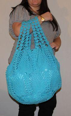 Extra Large Bright Blue Crochet Bag Crochet Beach от ElvishGiggles