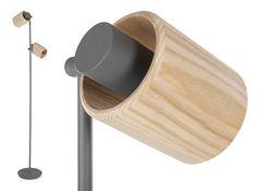 Gylfie staande lamp, grijs en essenhout