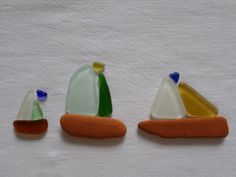 Kit 3 bateaux verre de mer et éclats de poterie lot par BIRBILI3