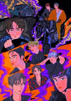 Exo Cartoon, Exo Anime, Exo Fan Art, Fanarts Anime, Kpop Fanart, Gold Art, Baekhyun, Chibi, Art Prints