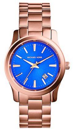 #MichaelKors cobalt blue/rose gold bracelet watch http://rstyle.me/n/g7nxznyg6