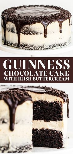Guinness Chocolate Cake with Irish Buttercream features an easy, fudgy, and moist cocoa cake with Guinness beer and thick creamy, sweet Irish cream buttercream. The perfect homemade, from-sratch St. Patrick's Day or a birthday dessert recipe! #guinnesscake #chocolatecake #stpatricksdaydessert Irish Desserts, Easy Desserts, Delicious Desserts, Dessert Recipes, Guinness Recipes, Guinness Cake, Homemade Cake Recipes, Baking Recipes, Food Cakes