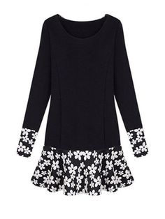 S-XXXL Black Sweet Floral Hem Plus Size Long Sleeve Dress