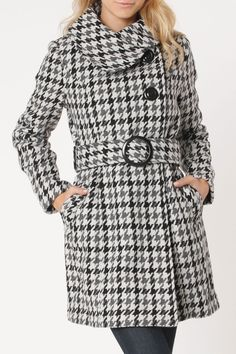 Houndstooth Coat In Black, Gray And White.