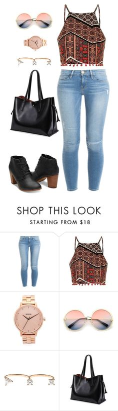 """""""Untitled #1758"""" by cassidy-krystine ❤ liked on Polyvore featuring Frame Denim, Topshop, Nixon, ZeroUV and Delfina Delettrez"""