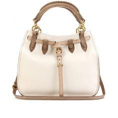Miu Miu Medium Drawstring Leather Tote ($1,551) ❤ liked on Polyvore