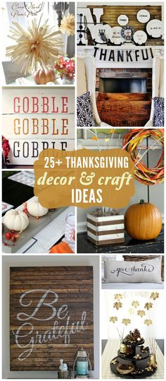 25+ Thanksgiving Decor and Craft ideas on { lilluna.com }  LOVE the pallet wall art and striped planter box!