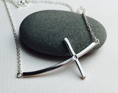 All Sterling Sideways Cross Necklace Crescent Cross by Beautiful2u