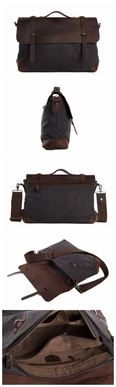 Canvas Leather Briefcase Messenger Bag Shoulder Bag Laptop Bag Tote Bag