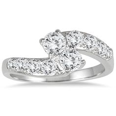 1 Carat Two Stone Diamond Ring in 10K White Gold >>> To view further for this item, visit the image link.