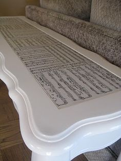 Decoupage Sheet Music Table; love this