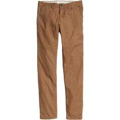 Chinos Slim fit $29.99 (275 ARS) ❤ liked on Polyvore featuring pants, men, jae bottoms, brown slim pants, slim chino pants, chino trousers, slim trousers and slim pants