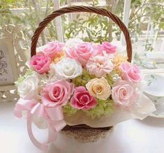 Happy Birthday ~ Wishing you a day as lovely as you are ~ pink and white bouquet Birthday Wishes Flowers, Happy Birthday Wishes Cards, Happy Birthday Flower, Birthday Cheers, Birthday Blessings, Happy Birthday Pictures, Happy Birthday Sister, Birthday Love, Birthday Quotes