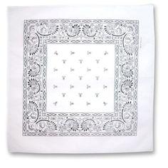 WHITE COTTON BANDANA PAISLEY PRINT 22 SQUARE INCHES