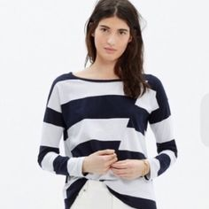12/28 HP Madewell Striped Boatneck Shirt Brand new long sleeved shirt with navy and white stripes on an offbeat diagonal seam. Pair with denim and flats for a casual fall day! Madewell Tops