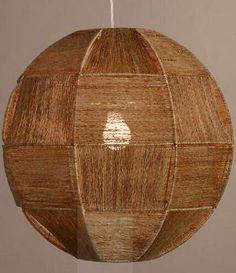 Basket Hand Woven Natural Fiber Globe Pendant Lamp