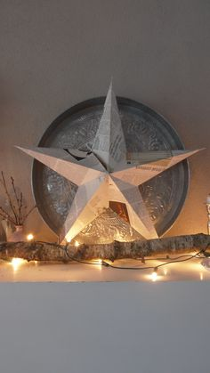 christmas star made out of word paper Merry Christmas To All, Christmas Mood, Noel Christmas, All Things Christmas, Christmas Crafts, Christmas Decorations, Xmas, Beautiful Christmas Scenes, Christmas Fireplace Mantels