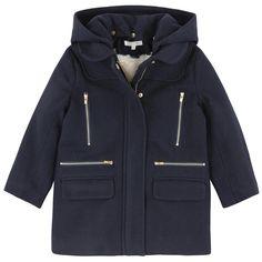 Chloé Manteau en drap de laine, capuche amovible, intérieur en fourrure synthétique Bleu