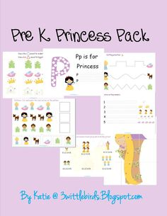 Done! Little C loved working on these - for a short time. Princess Pre K pack... Free Printable