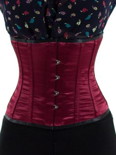 104c22435e5 Orchard Corset - Single Steel Boned Underbust Satin Corset in Burgundy Wine  (CS-305