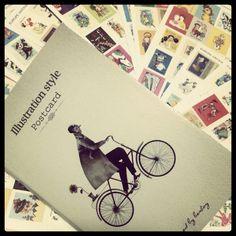 Illustrazioni in bicicletta postcard