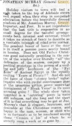 23 December 1902 Jonathan Murray, General Grocer