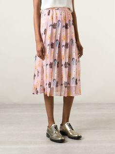 Shop AU JOUR LE JOUR asian doll print skirt from Farfetch