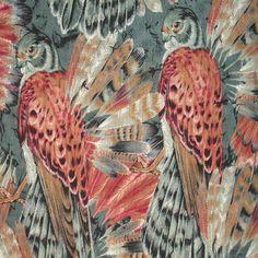 "1YD 28"" x 44"" Raptor KESTRAL RED TAIL HAWKS Wild Birds of Prey Falco PUTTY GRAY #DavidTextiles"