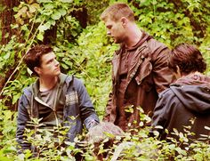 """Chris Hemsworth and Josh Hutcherson on the set for Red Dawn...he's like """"OMG Gale. How you have grown. Please don't hurt me."""""""