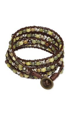 """Lashed Wrap Bracelet with Gemstone Beads, Antiqued Brass-Finished """"Pewter"""" Button and SWAROVSKI ELEMENTS"""