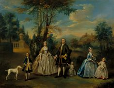 British School 18th century, 'A Family Group in a Landscape' c.1750