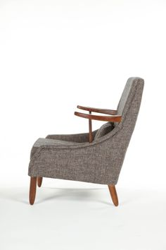 Mid-Centrury Modern Fabric Brown Arm Chair