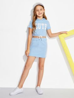 SheIn offers Girls Letter Print Hoodie & Skirt Set & more to fit your fashionable needs. - August 11 2019 at Cute Girl Outfits, Kids Outfits Girls, Cute Outfits For Kids, Cute Casual Outfits, Cute Summer Outfits, Girls Fashion Clothes, Tween Fashion, Teen Fashion Outfits, Tween Mode