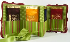 A Simple Gift Wallet - could be filled with gift cards, thank you notes, pictures or even a combo of all of them.  Wrap in ribbon - Cute!